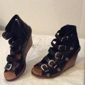 Topshos Black gladiator sandals wood wedges # 8M